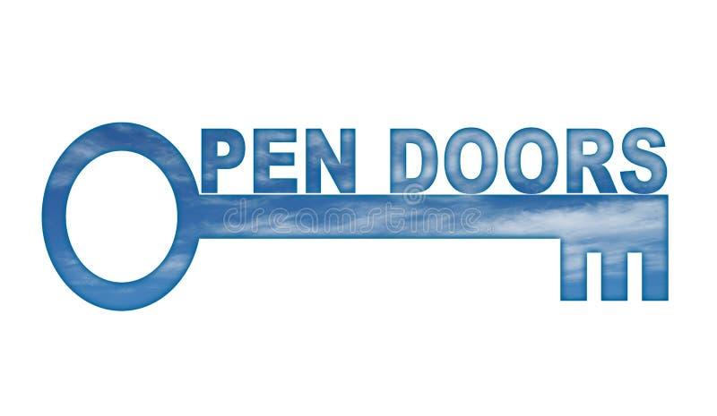dörrar öppnar stock illustrationer