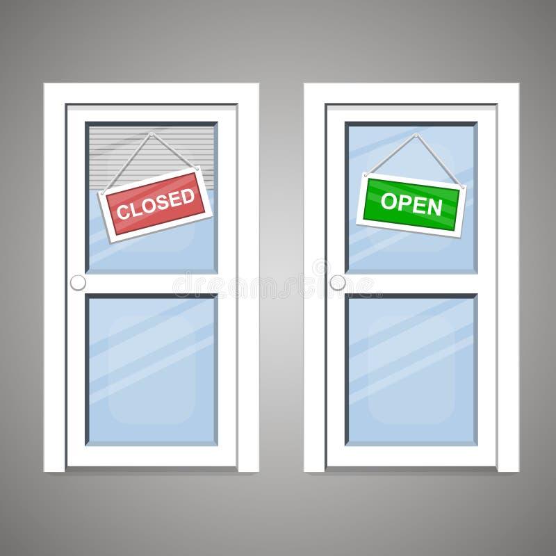 Dörrar öppnar stängt royaltyfri illustrationer