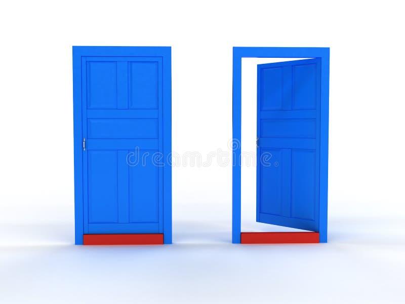 dörrar för 1 öppnar blåa stängda dörr två vektor illustrationer