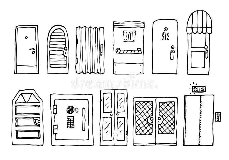 Dörrar och ingångsuppsättning stock illustrationer