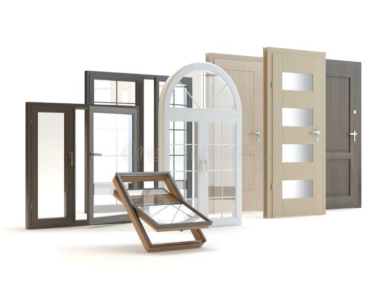 Dörrar och vit backgroud för fönster, illustration 3D stock illustrationer