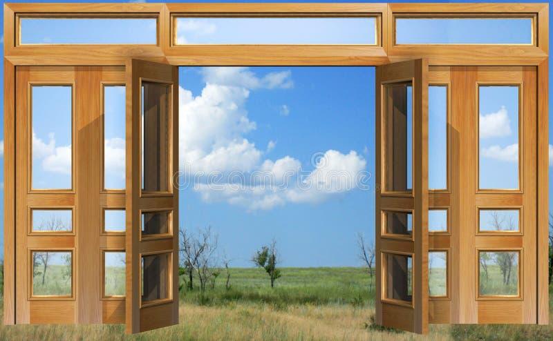 dörren öppnade skyen till royaltyfri illustrationer