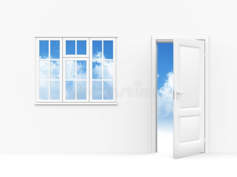 dörrfönster stock illustrationer