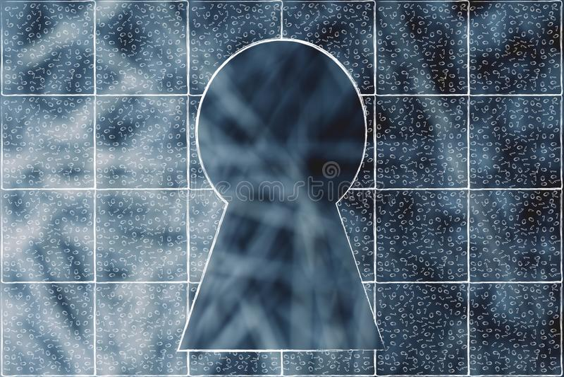 Dörrlås som omges av väggen av smutsiga kvarter för binär kod royaltyfri illustrationer