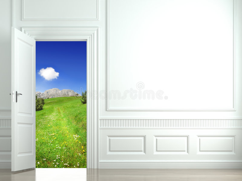 dörrliggande som är öppen till väggwhite vektor illustrationer