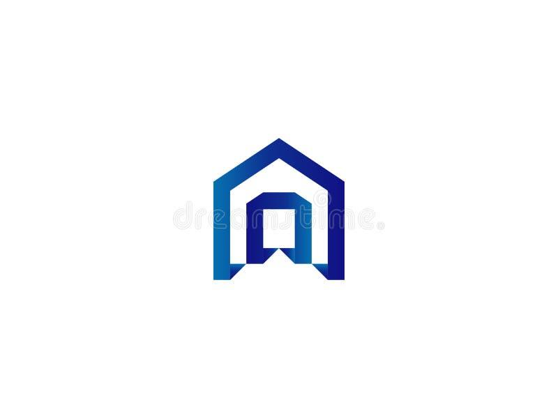 Dörrlogo för hem eller fastighet märka A eller D ingång port, konstruktion, dörröppningssymbol royaltyfri illustrationer