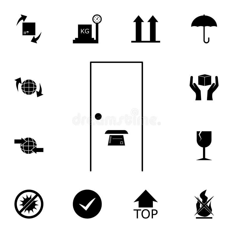 dörrspringa i dörrsymbolen Detaljerad uppsättning av logistiska symboler Högvärdig kvalitets- symbol för grafisk design En av sam royaltyfri illustrationer