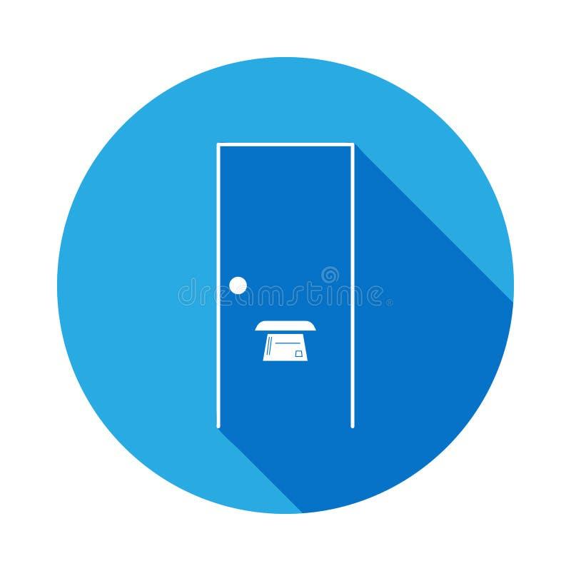 dörrspringa i dörrsymbolen med lång skugga Beståndsdel av logistiksymbolen Högvärdig kvalitets- symbol för grafisk design underte royaltyfri illustrationer