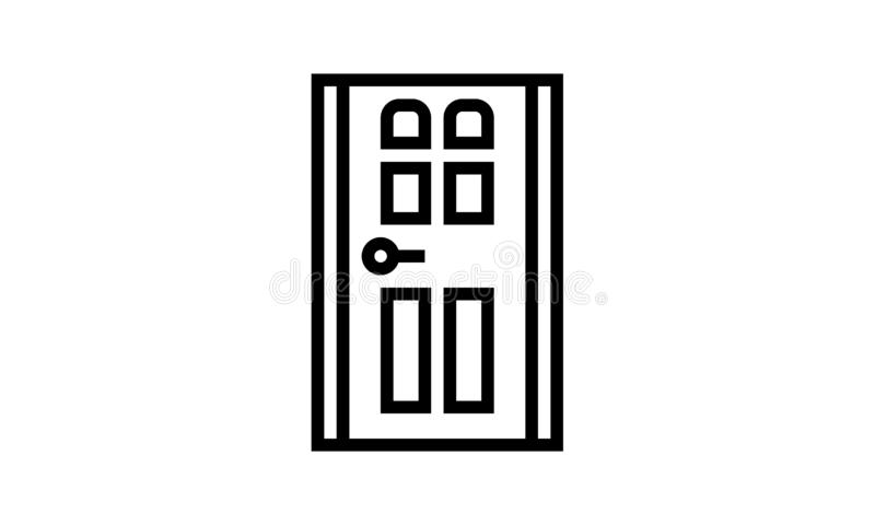 Dörrsymbol som isoleras Plan design vektor illustrationer