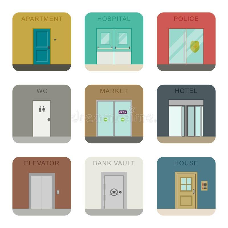Dörrsymbolsuppsättning stock illustrationer