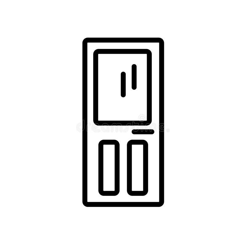 Dörrsymbolsvektor som isoleras på vit bakgrund, dörrtecken, linea royaltyfri illustrationer