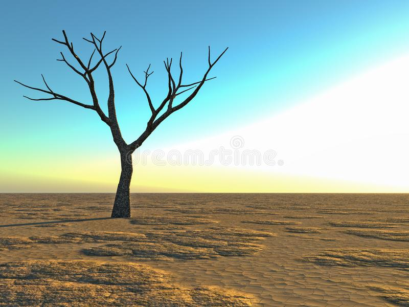 Dött ensamt träd i öknen vektor illustrationer