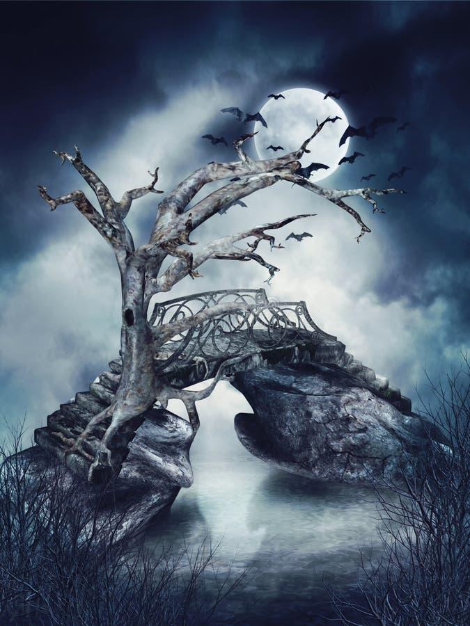 Dött träd med slagträn royaltyfri illustrationer