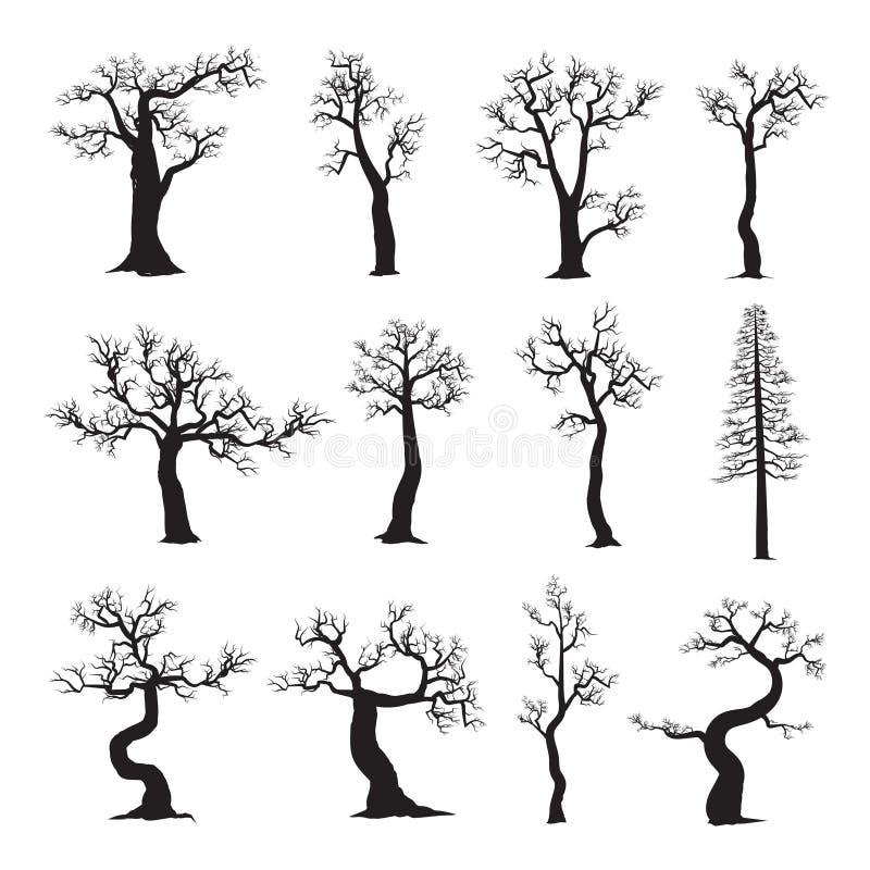 Dött träd utan sidor, samling av trädkonturer stock illustrationer