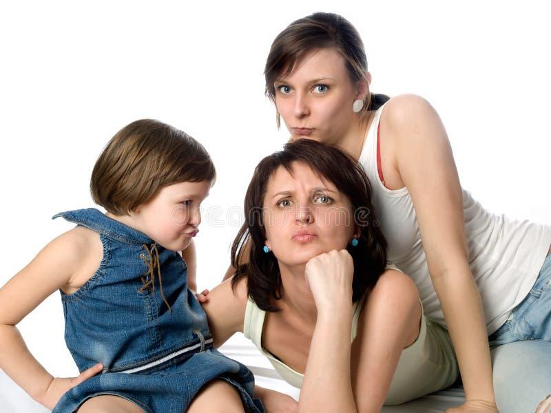 döttrar mother skämtsamma två royaltyfri bild