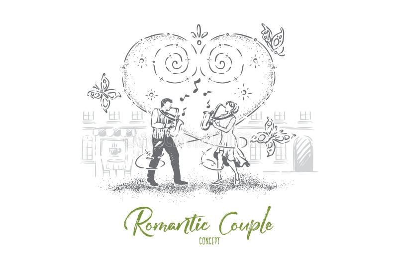 Dúo que juega la composición junto, el hombre y a la mujer que tocan el saxofón, ejecutantes musicales de la calle, idea romántic stock de ilustración