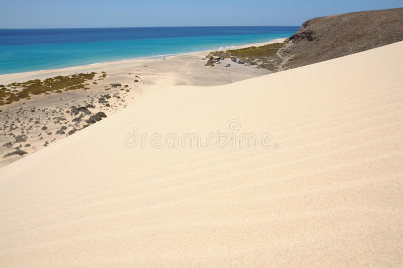 Düne auf der Küste von Fuerteventura stockfotos