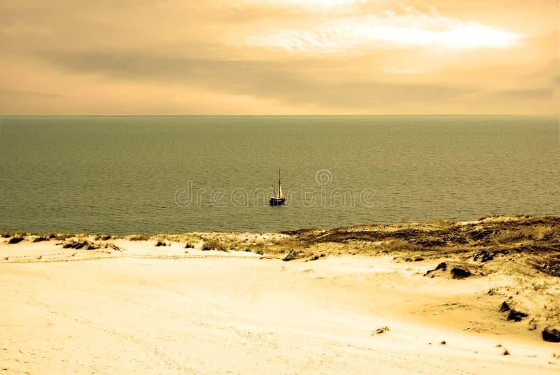 Dünelandschaft und Kursiu Meer stockbild