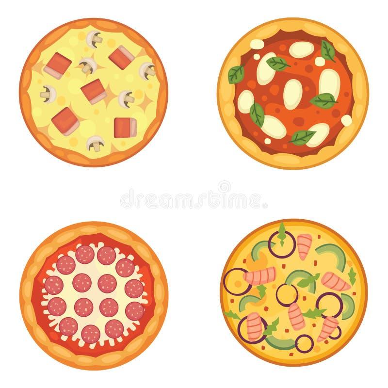 Dünn geschnittene Pepperonis ist eine populäre Pizza Italienische Koch- und Pizzalieferung vektor abbildung