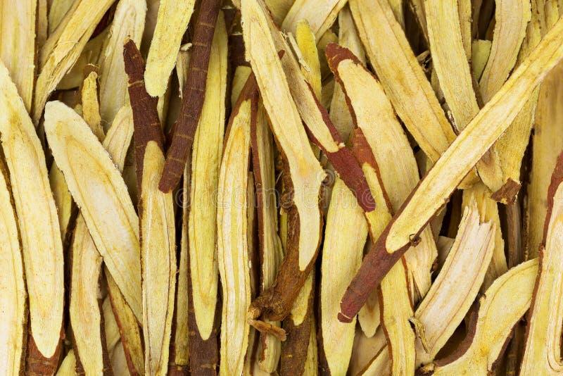 Dünn geschnittene Süßholzwurzel Lakritze benutzt als Kräutermedizin lizenzfreie stockfotografie