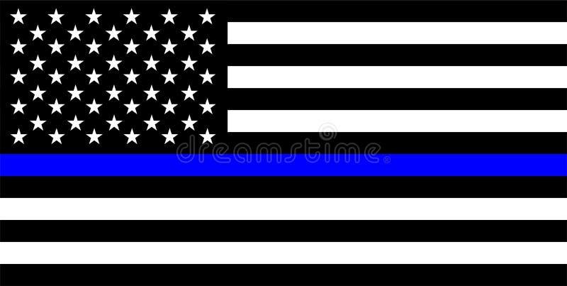 dünne blaue Linie Flagge der Polizei stockfotos