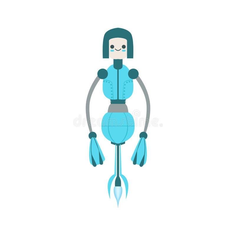 Dünne blaue sich hin- und herbewegende Roboter-Charakter-Vektor-Karikatur-Illustration Mid Airs freundliche Android lizenzfreie abbildung