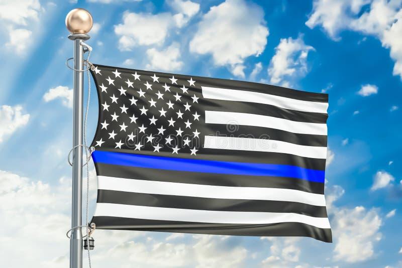 Dünne blaue Zeile Schwarze Flagge von USA mit Polizei Blue Line, 3D zerreißen stock abbildung