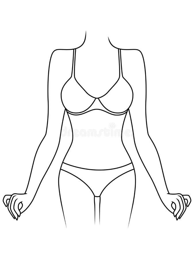Dünne Dame in der Unterwäsche stock abbildung