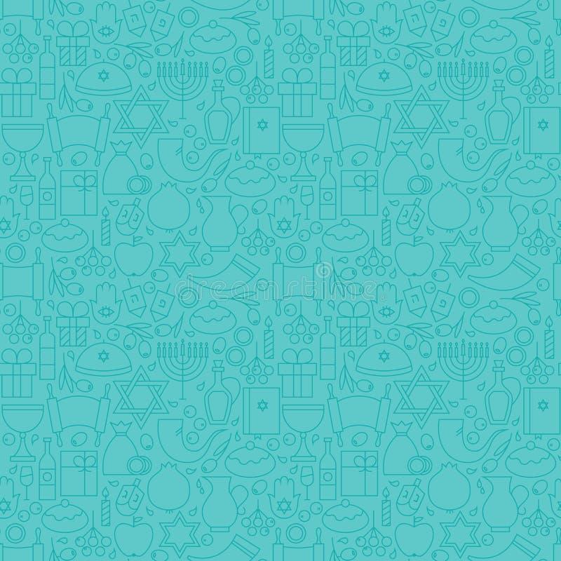 Dünne Feiertags-Linie glückliches blaues nahtloses Muster Chanukkas