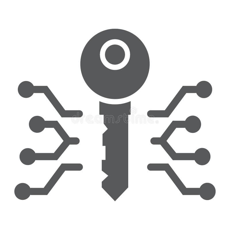 Dünne Glyphschlüsselikone, -geld und -finanzierung Digital vektor abbildung