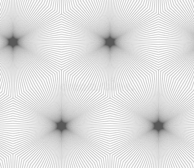 Dünne graue gestreifte Hexagone, die Sterne bilden stock abbildung