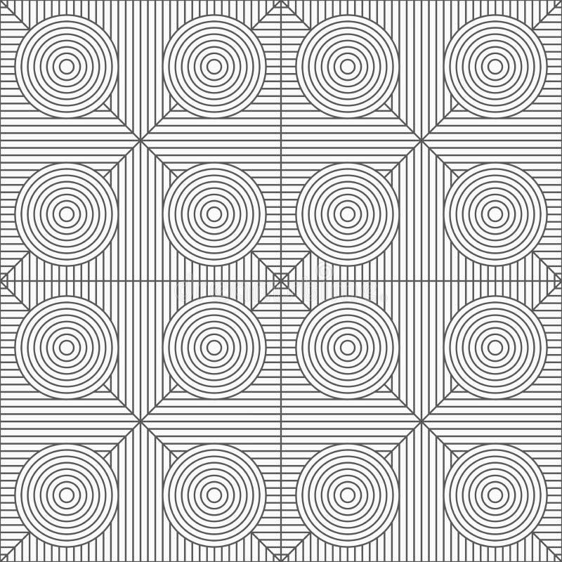 Dünne graue Streifenkreise auf gestreiften Dreiecken stock abbildung