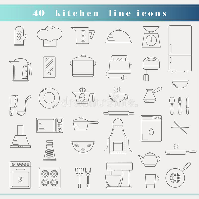 Dünne Küchenikonen des Entwurfs lizenzfreie abbildung
