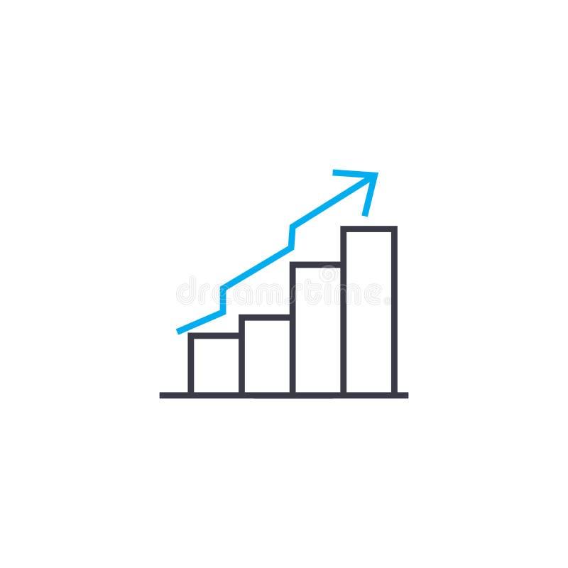 Dünne Linie Anschlagikone des Aufwärtstrenddiagramm-Vektors Aufwärtstrenddiagramm-Entwurfsillustration, lineares Zeichen, Symbolk lizenzfreie abbildung