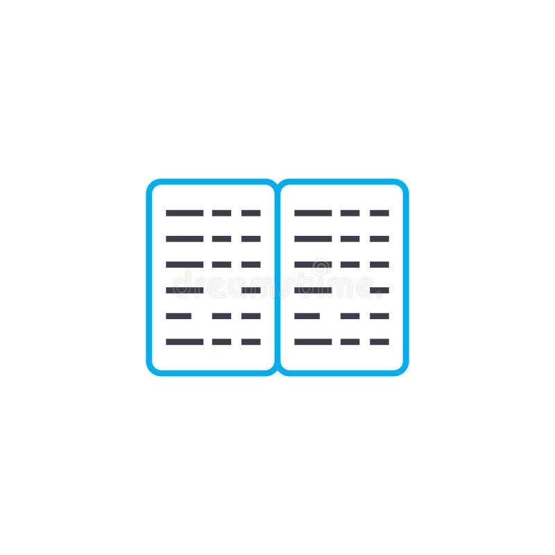 Dünne Linie Anschlagikone des Blindenschrift-Buchvektors Blindenschrift-Buchentwurfsillustration, lineares Zeichen, Symbolkonzept stock abbildung