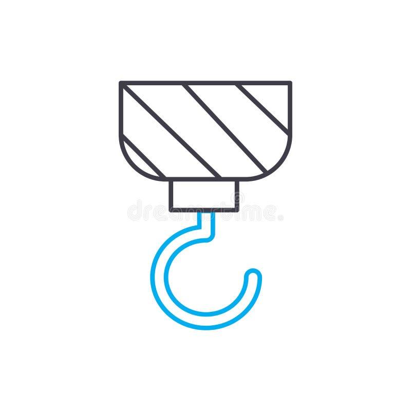 Dünne Linie Anschlagikone des Kranhaken-Vektors Strecken Sie Hakenentwurfsillustration, lineares Zeichen, Symbolkonzept stock abbildung