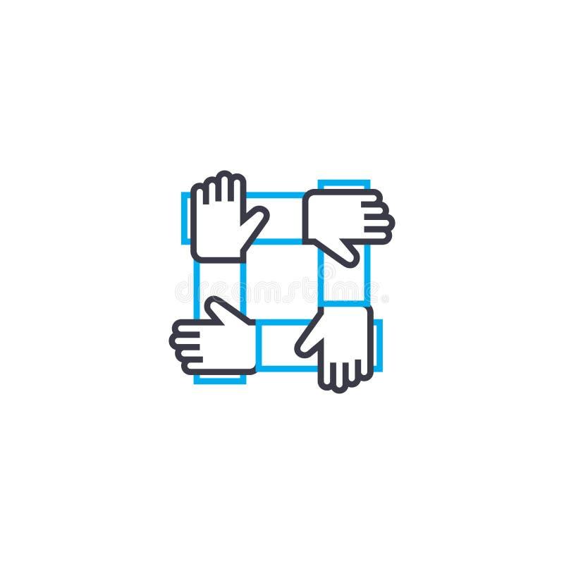 Dünne Linie Anschlagikone des Teamstützvektors Team Stützentwurfsillustration, lineares Zeichen, Symbolkonzept stock abbildung