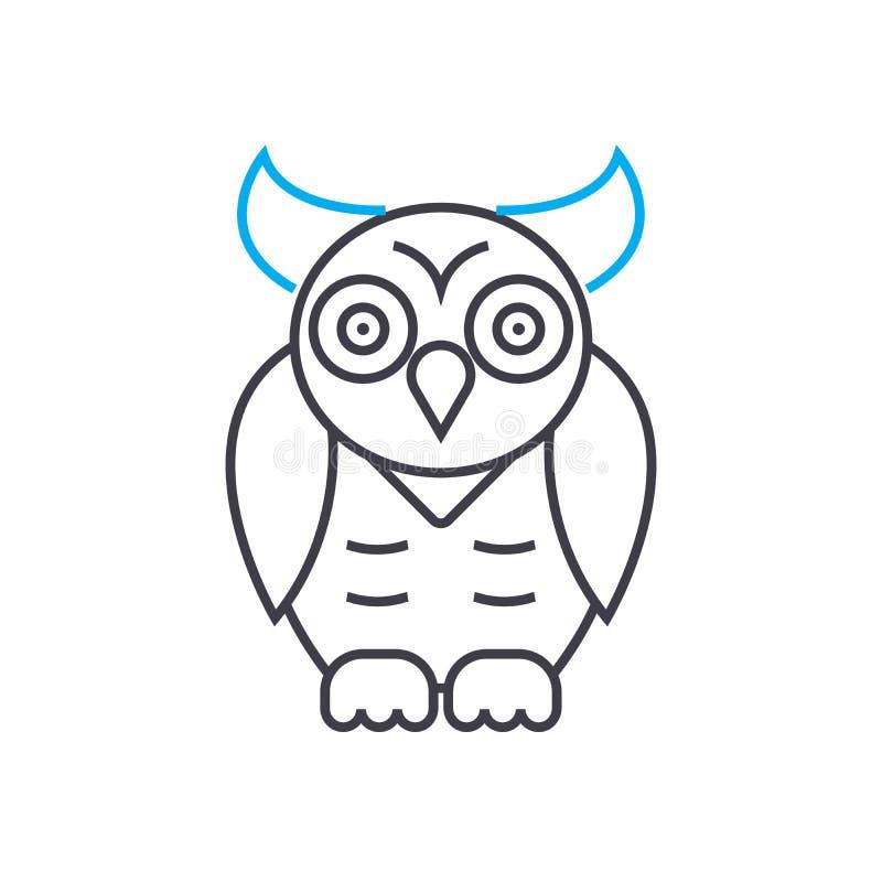 Dünne Linie Anschlagikone des Tierwelteulenvektors Tierwelteulenentwurfsillustration, lineares Zeichen, Symbolkonzept stock abbildung