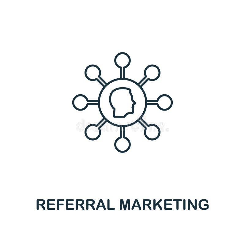 Dünne Linie Art der Empfehlungs-Marketing-Ikone Symbol von der vermarktenden Ikonenon-line-sammlung Entwurfsempfehlungsmarketing- vektor abbildung