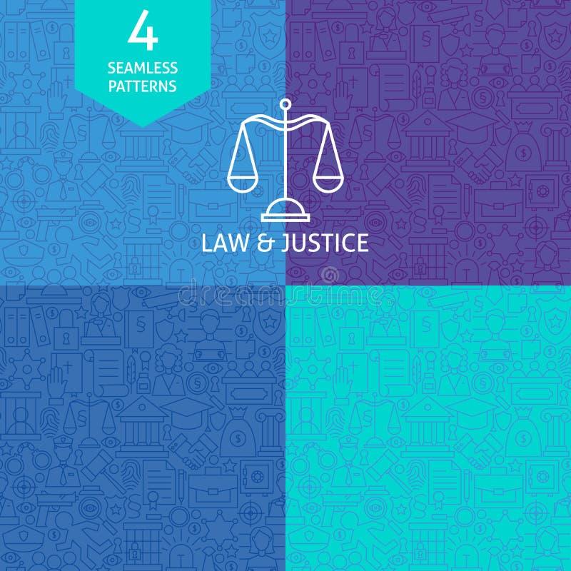 Dünne Linie Art Law Justice und Verbrechen-Muster-Satz vektor abbildung