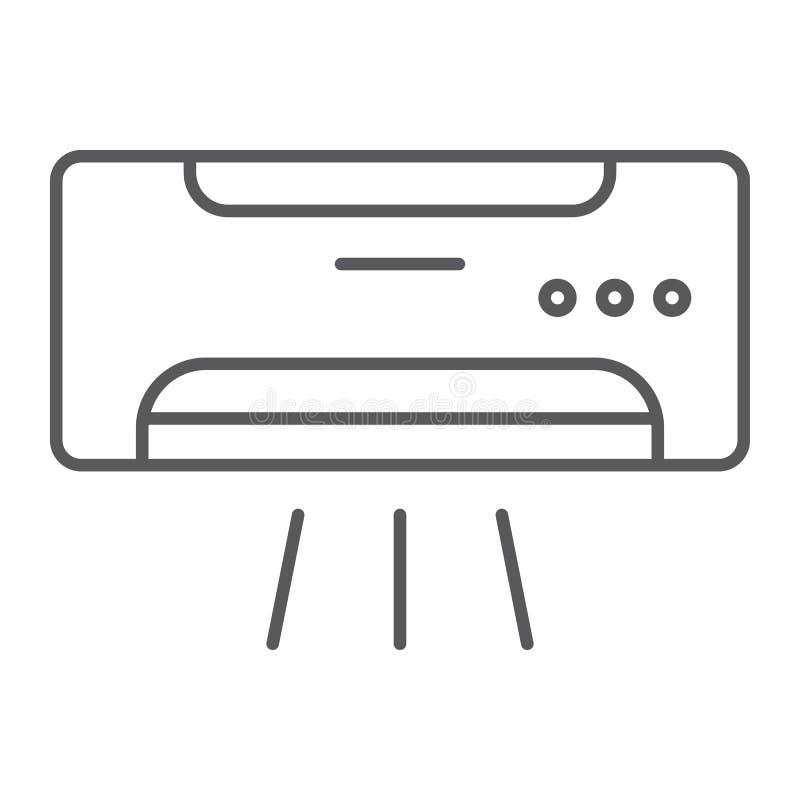 Dünne Linie der Klimaanlage Ikone, Klima und Abkühlen, Gerätezeichen, Vektorgrafik, ein lineares Muster lizenzfreie abbildung