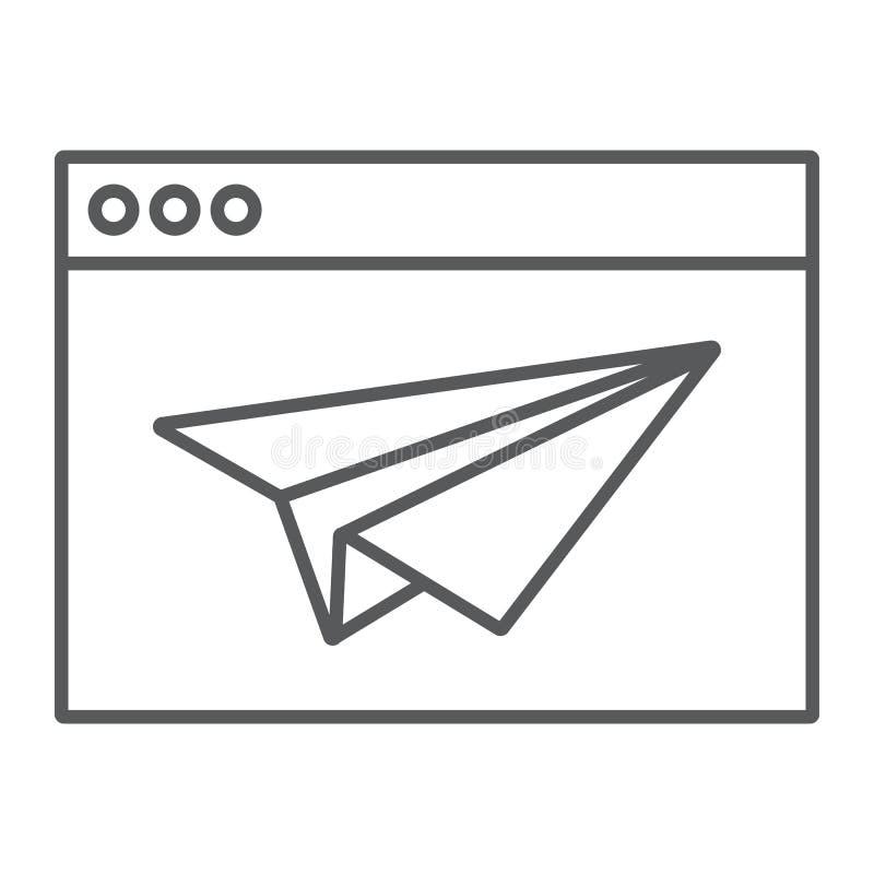 Dünne Linie der Landungs-Seite Ikone, Browser und Seite lizenzfreie abbildung