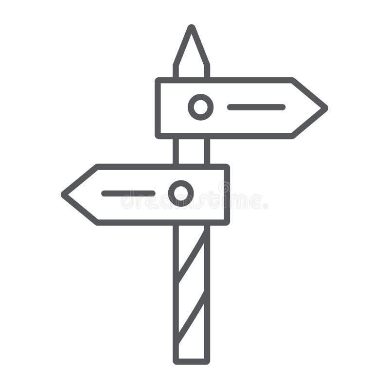 Dünne Linie der Richtung Ikone, Weise und Wegweiser, Wegweiser Zeichen, Vektorgrafik, ein lineares Muster auf einem weißen Hinter vektor abbildung