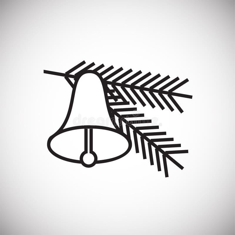 Dünne Linie der Weihnachtsbaum-Glocke auf weißem Hintergrund lizenzfreie abbildung