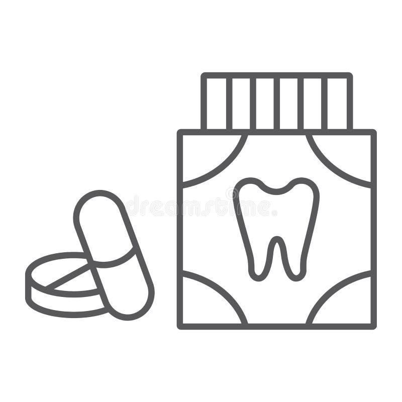 Dünne Linie der Zahnschmerzenschmerzmittel-Tabletten Ikone, Stomatologie und zahnmedizinisches, Zahnheilkundepillen unterzeichnen lizenzfreie abbildung