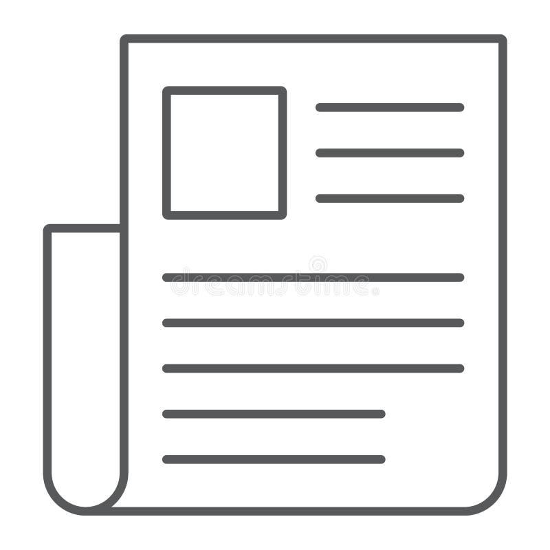 Dünne Linie der Zeitung Ikone, Nachrichten und Newsletter stock abbildung