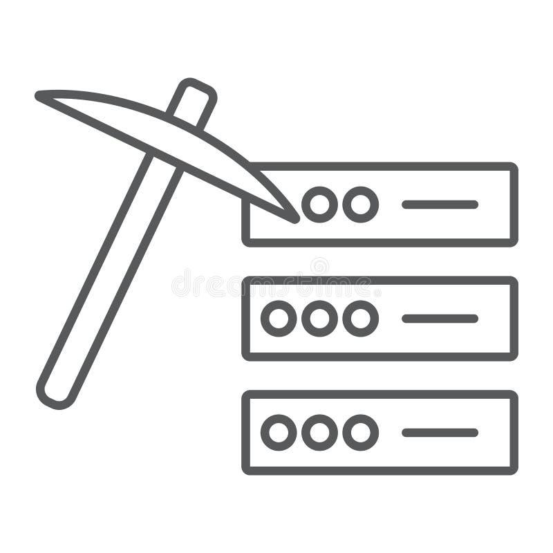 Dünne Linie des Data - Minings Ikone, Daten und Analytik vektor abbildung