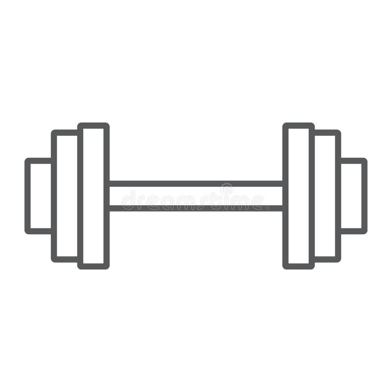 Dünne Linie des Gewichthebens Ikone, Turnhalle und Sport stock abbildung