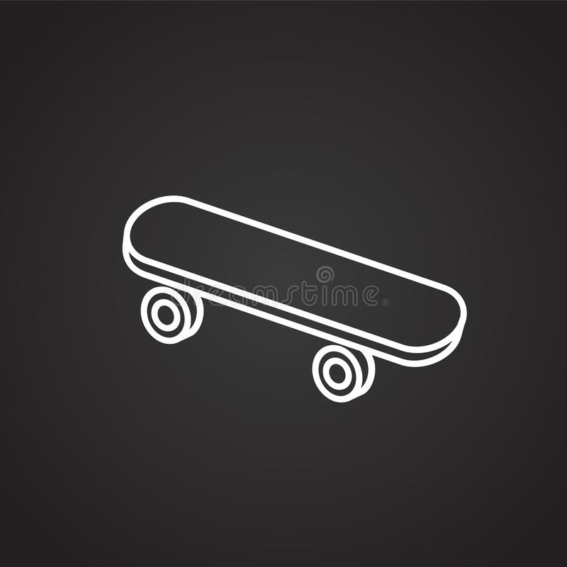 Dünne Linie des Skateboards auf schwarzem Hintergrund stock abbildung