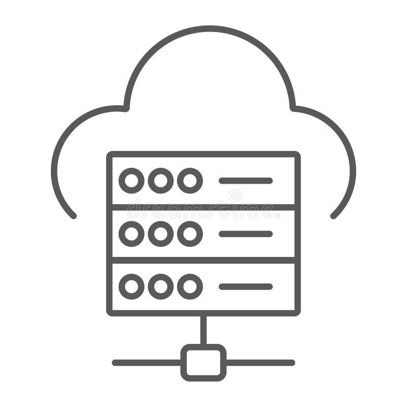 Dünne Linie des Web-Hostings Ikone, Daten und Analytik lizenzfreie abbildung